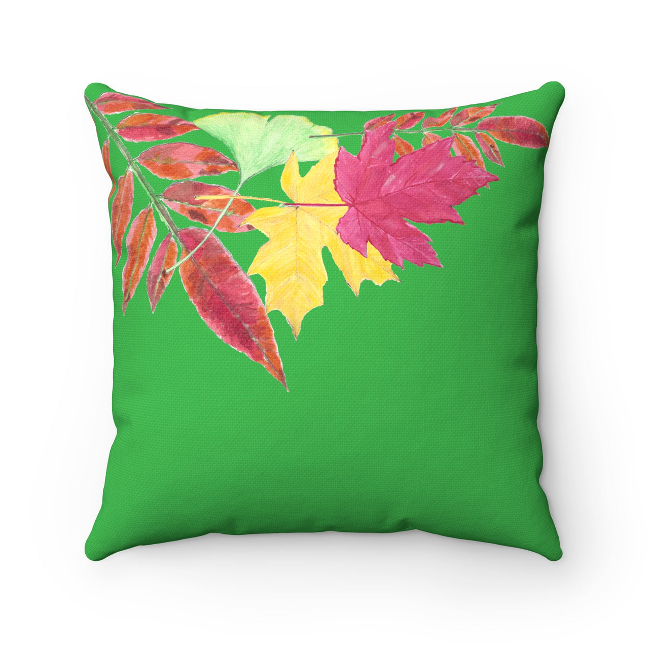 Pillow - Five-Leaf Green Spun Polyester - Falling Leaf Card Co.