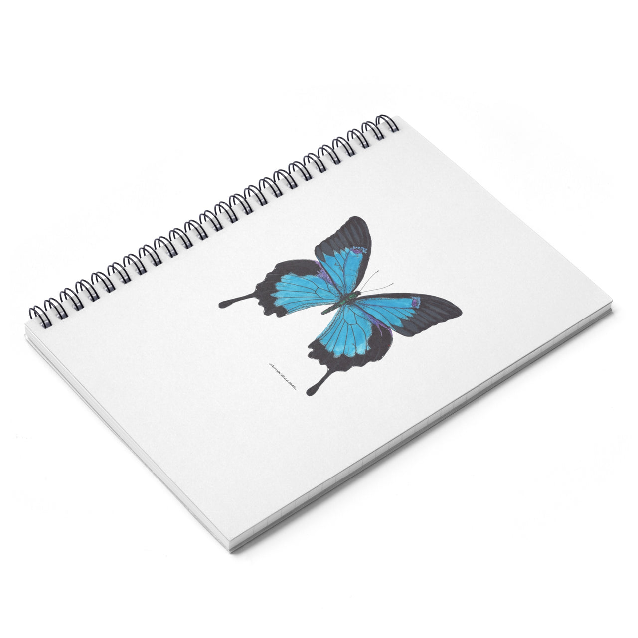 Journal - Blue Butterfly Spiral Notebook - Ruled Line - Falling Leaf Card Co.