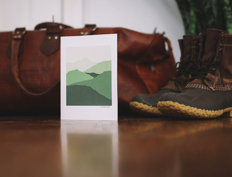 Green Mountains Greeting Card (Blank) - Falling Leaf Card Co.