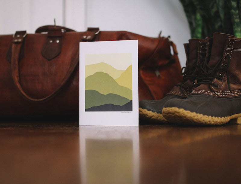 Yellow Mountains Note Card (Blank) - Falling Leaf Card Co.