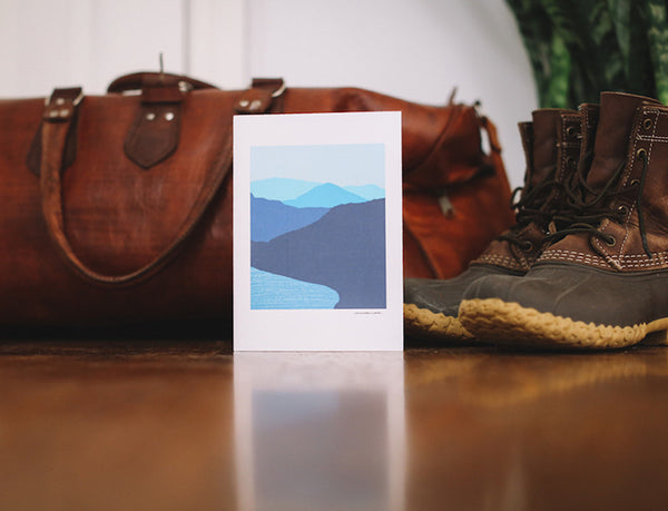 Blue Mountain Lake Note Card (Blank) - Falling Leaf Card Co.