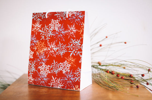 Red Snowflake Gift Bag - Falling Leaf Card Co.