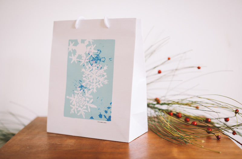Turquoise Snowflake Gift Bag - Falling Leaf Card Co.