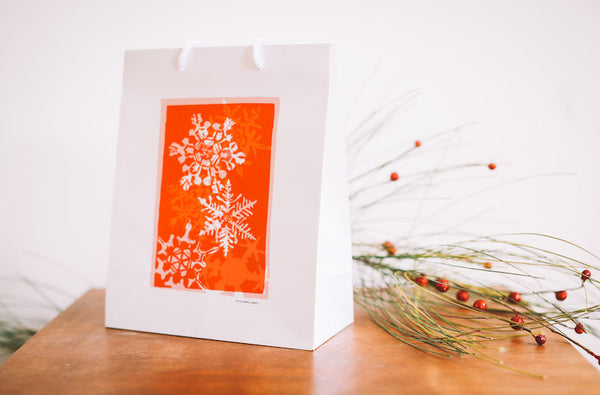 Orange Snowflake Gift Bag - Falling Leaf Card Co.