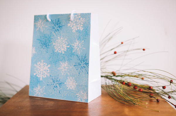 Blue Snowflake Gift Bag - Falling Leaf Card Co.