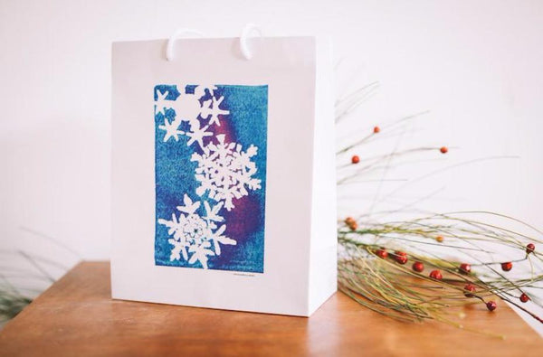 Blue Metallic Snowflake Gift Bag - Falling Leaf Card Co.