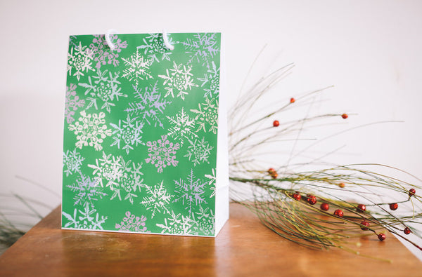 Green Snowflake Gift Bag - Falling Leaf Card Co.