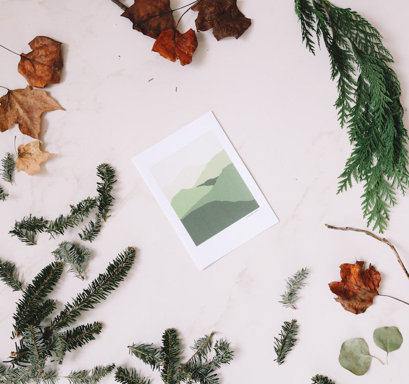 Green Mountain Wall Print - Falling Leaf Card Co.