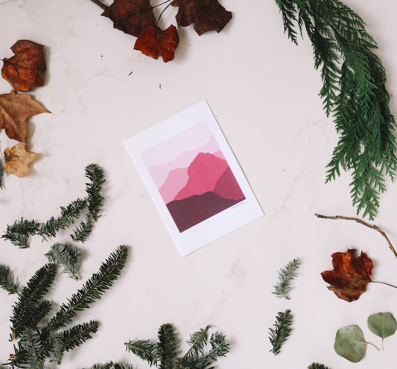 Red Mountains Wall Print - Falling Leaf Card Co.