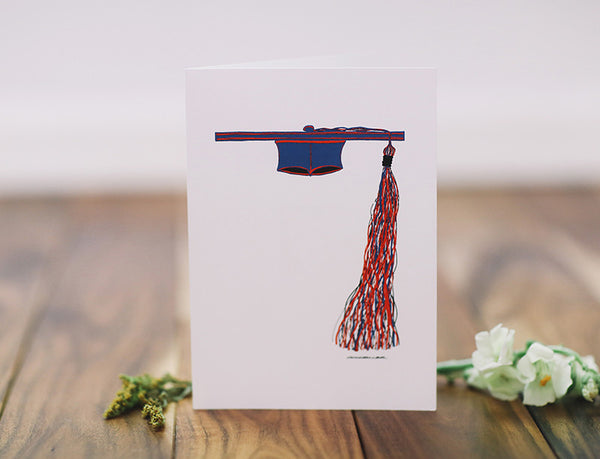 Graduation Cap with Pom Tassel Greeting Card - Falling Leaf Card Co.