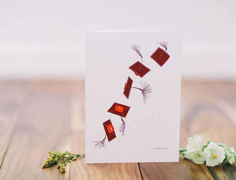 Graduation Red Flying Cap Greeting Card - Falling Leaf Card Co.