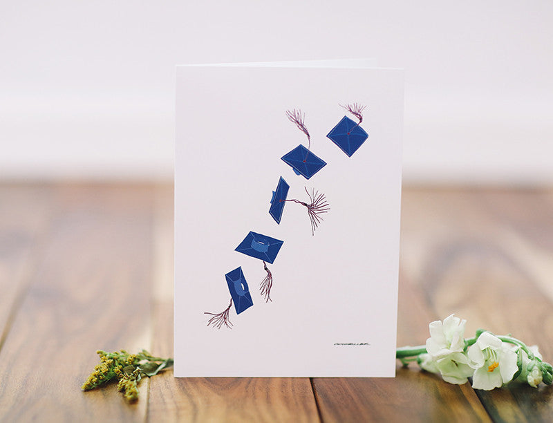 Graduation Blue Flying Cap Greeting Card - Falling Leaf Card Co.
