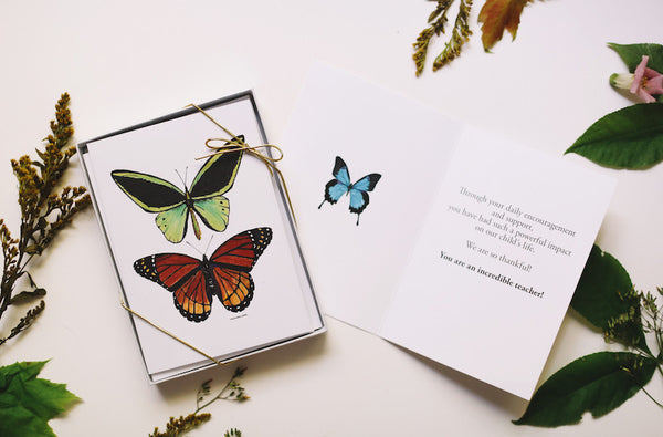 Teacher Appreciation Day Gift - Butterfly Combo Card Set - Falling Leaf Card Co.