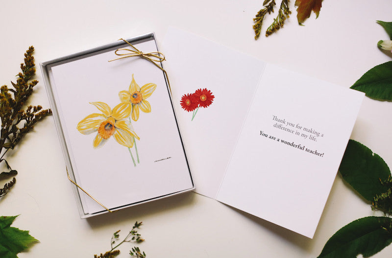 Teacher Appreciation Day Gift - Flower Card Set - Falling Leaf Card Co.