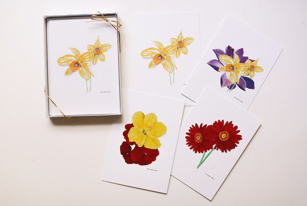 Flower Note Card Set (Blank) - Falling Leaf Card Co.