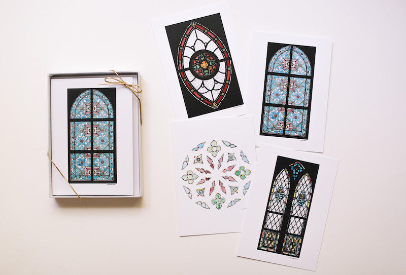 Stained Glass Window Note Card Set (Blank) - Falling Leaf Card Co.