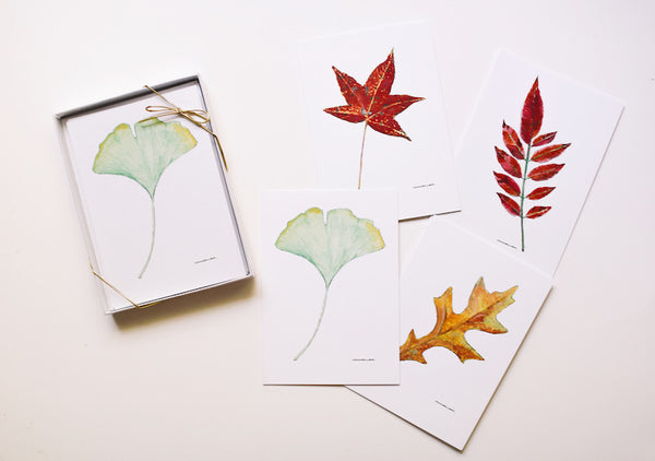 Leaf Note Card Set (Blank) - Falling Leaf Card Co.