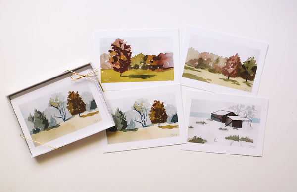 Landscape Note Card Boxed Set (Blank) - Falling Leaf Card Co.
