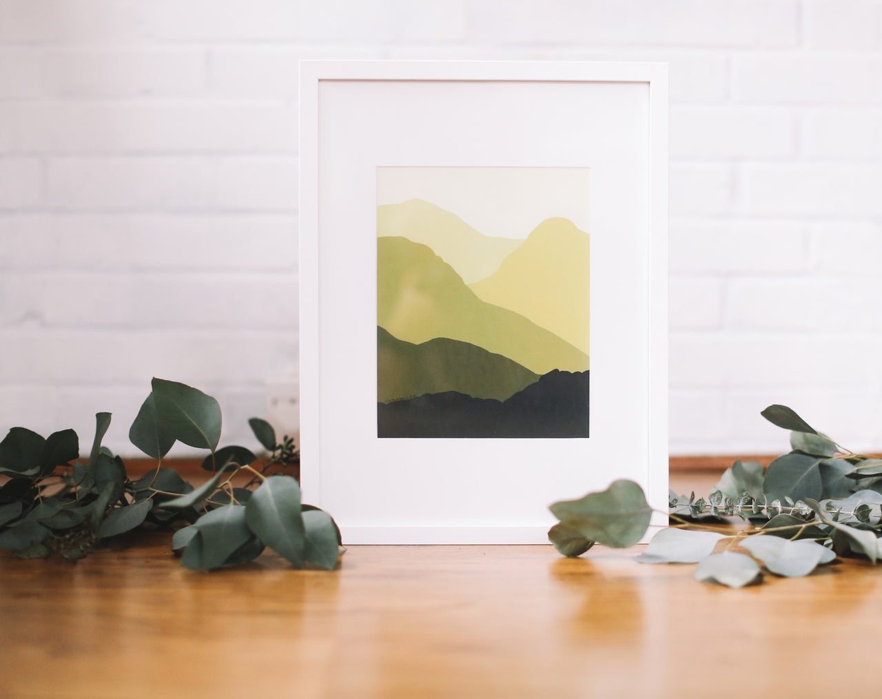 Yellow Mountains Wall Print (Framed) - Falling Leaf Card Co.