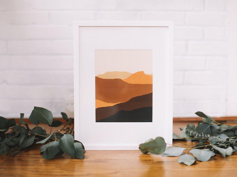 Sand Hills Mountain Wall Print (Framed) - Falling Leaf Card Co.