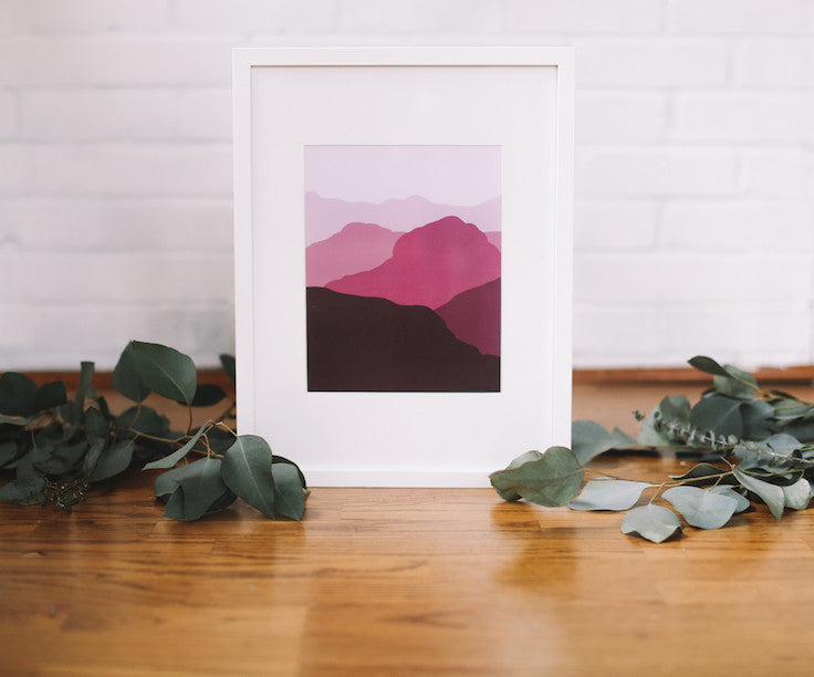 Red Mountain Wall Print (Framed) - Falling Leaf Card Co.
