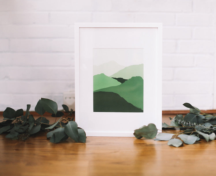 Green Mountain Wall Print (Framed) - Falling Leaf Card Co.