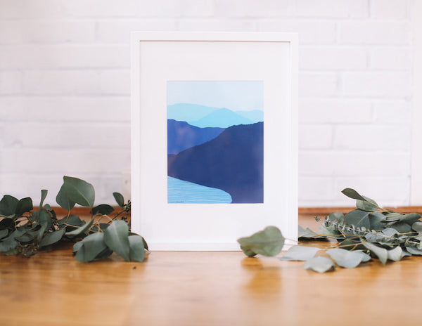 Mountain vista wall prints framed falling leaf card co blue mountain lake wall print framed falling leaf card co m4hsunfo