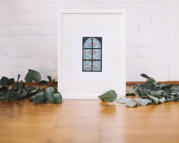 Turquoise Stained Glass Wall Art (Framed) - Falling Leaf Card Co.