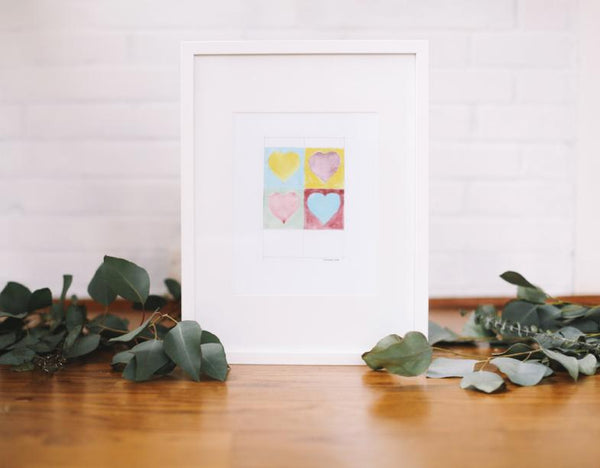 Warhol Style Hearts Wall Print (Framed) - Falling Leaf Card Co.