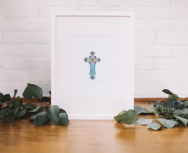 Turquoise Cross Wall Print (Framed) - Falling Leaf Card Co.