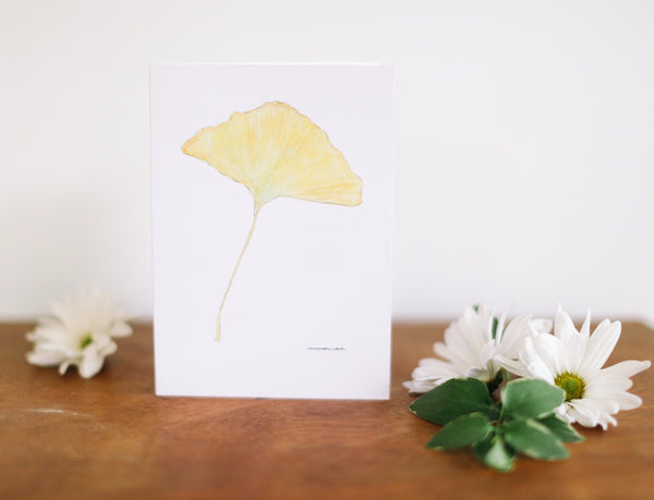 Yellow Ginkgo Leaf Note Card (Blank) - Falling Leaf Card Co.
