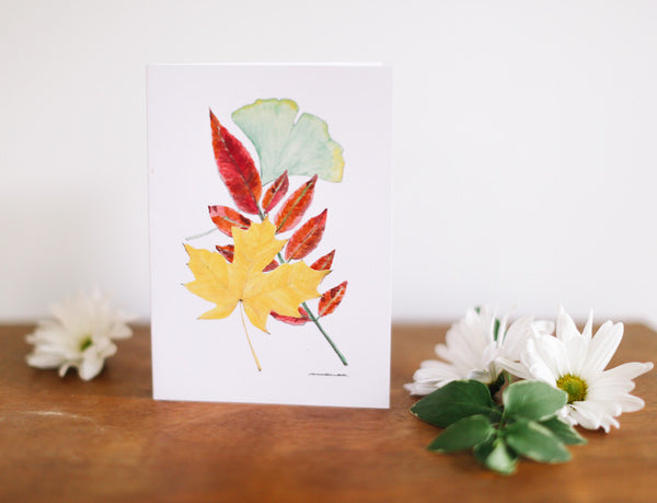 Three Leaf Combo Greeting Card (Blank) - Falling Leaf Card Co.