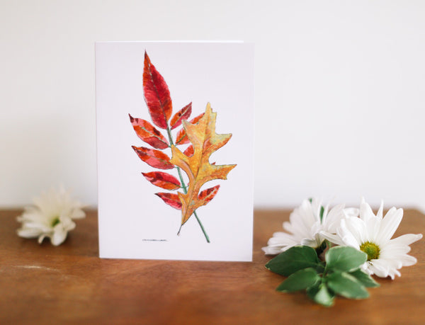 Oak & Sumac Leaves Greeting Card (Blank) - Falling Leaf Card Co.