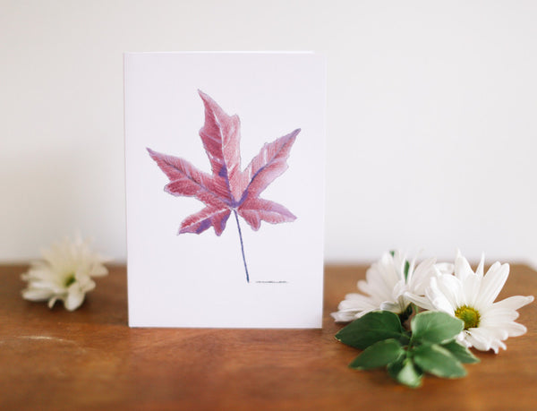 Purple Maple Leaf Greeting Card (Blank) - Falling Leaf Card Co.