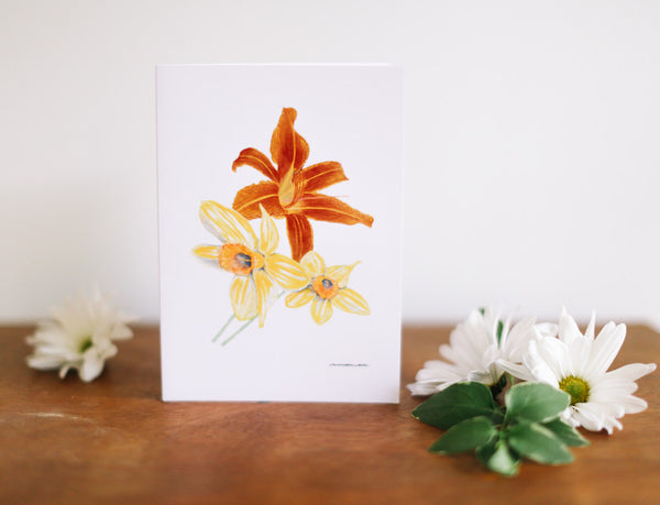 Daffodil & Tiger Lily Note Cards (Blank) - Falling Leaf Card Co.