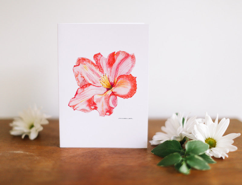 Rhododendron Greeting Card (Blank) - Falling Leaf Card Co.