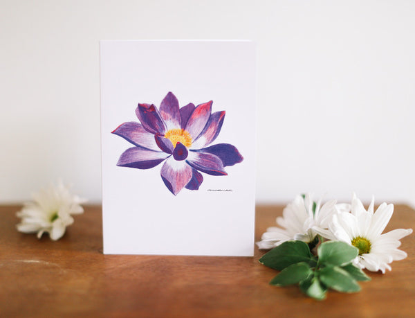 Purple Water Lily Mother's Day Card - Falling Leaf Card Co.
