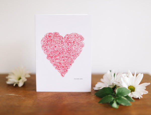 Roses Heart Valentine's Card (Blank) - Falling Leaf Card Co.