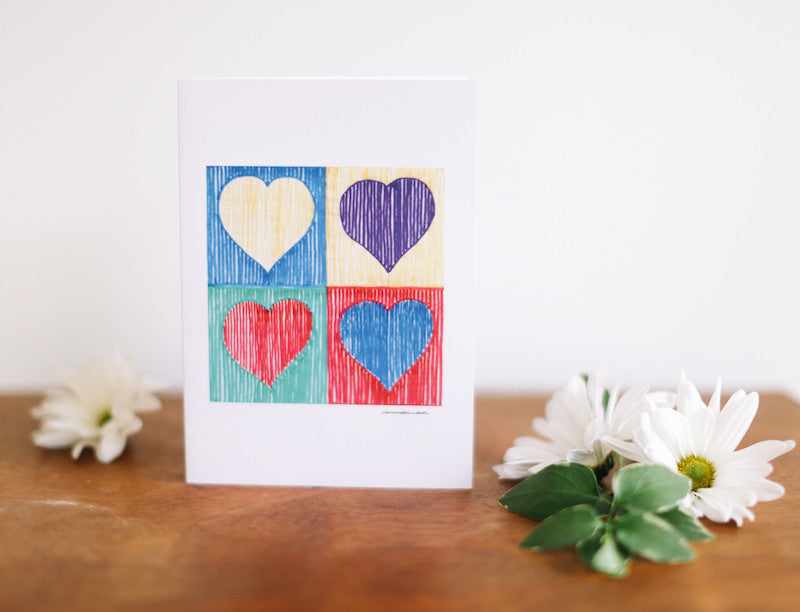 Four Heart Valentine's Card - Falling Leaf Card Co.