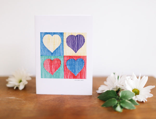 Four Heart Note Card (Blank) - Falling Leaf Card Co.