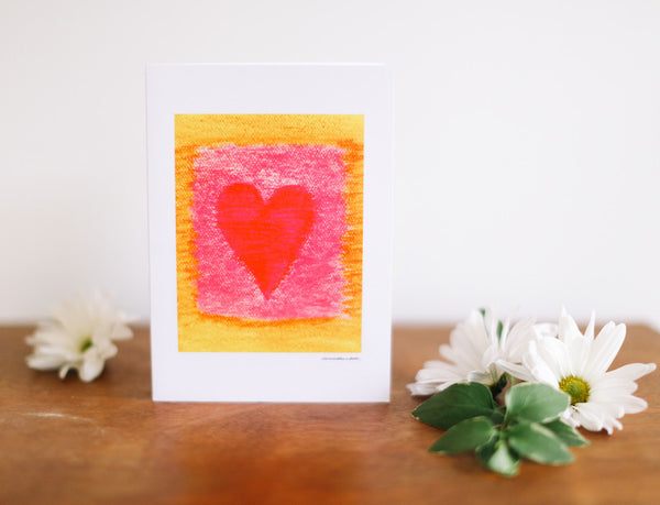 Red & Yellow Heart Valentine's Card (Blank) - Falling Leaf Card Co.