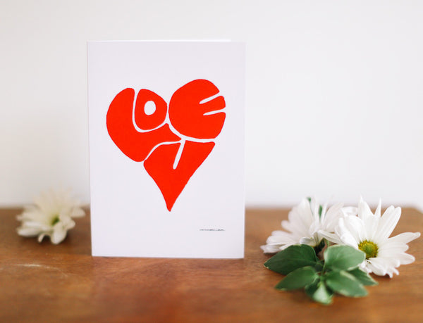 LOVE Heart Valentine's Card (Blank) - Falling Leaf Card Co.