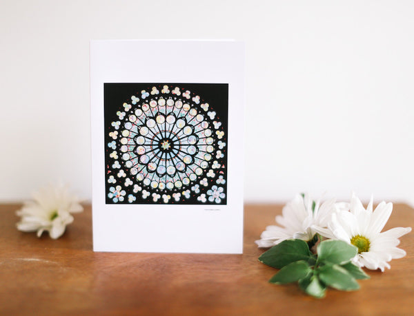 ND Rose Stained Glass Window Card (Blank) - Falling Leaf Card Co.