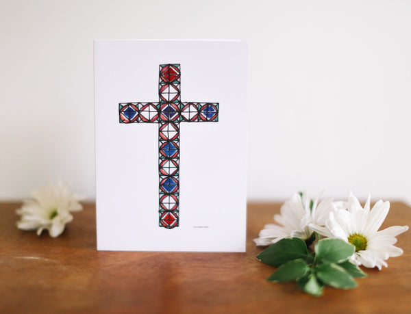 Circle Cross Note Card (Blank) - Falling Leaf Card Co.