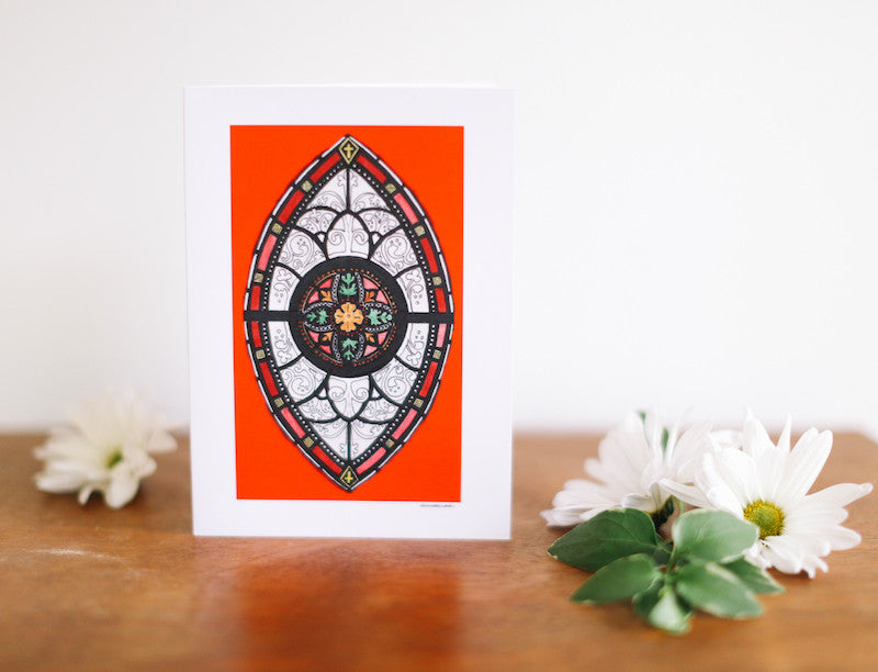 Red Marquis Stained Glass Window Greeting Card (Blank) - Falling Leaf Card Co.