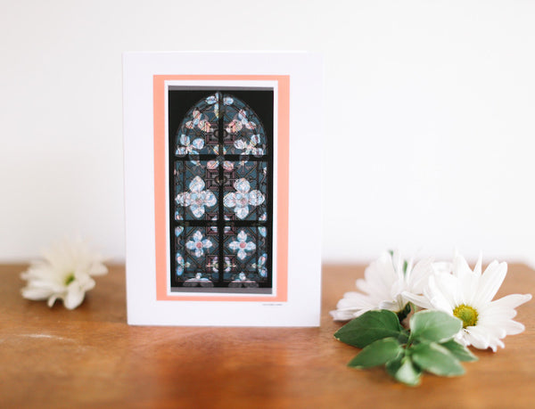 Veiled Combo Stained Glass Window Greeting Card (Blank) - Falling Leaf Card Co.