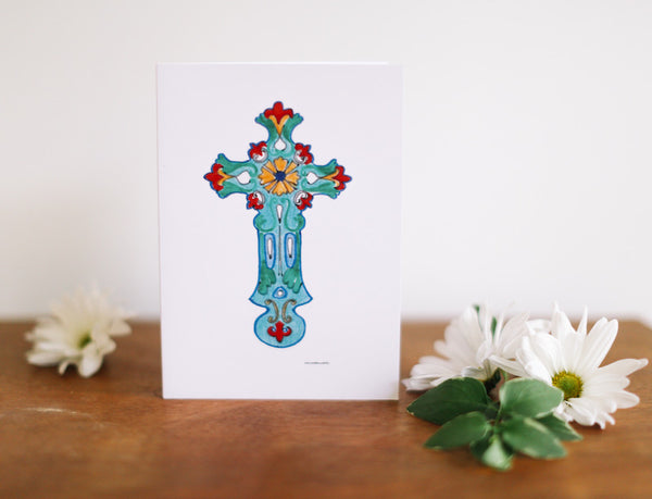 Turquoise Cross Note Card (Blank) - Falling Leaf Card Co.
