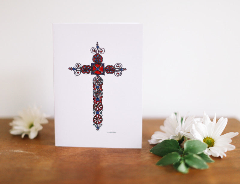 Scroll Cross Note Card (Blank) - Falling Leaf Card Co.