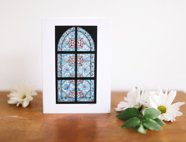 Turquoise Stained Glass Window Greeting Card (Blank) - Falling Leaf Card Co.