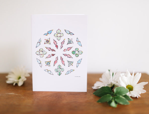 Jewel Rose Stained Glass Window Note Card (Blank) - Falling Leaf Card Co.